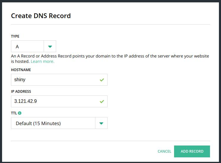 Create DNS Record on Hover